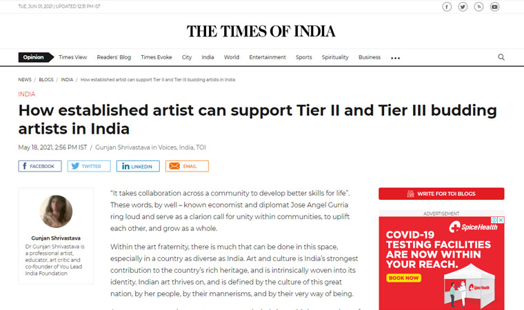 How established artist can support Tier II and Tier III budding artists in India